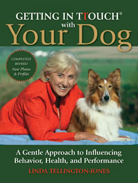 Linda Tellington-Jones poses with a beautiful sheltie dog.