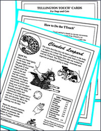 Black and white flash cards use diagrams to describe Tellington TTouch techniques for dogs and cats.