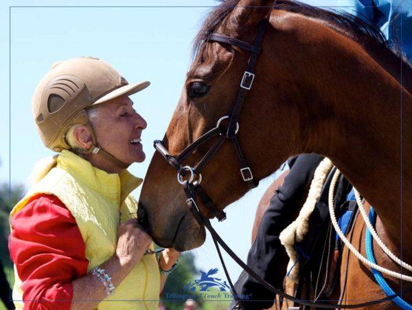 Linda Tellington Jones with a horse wearing the Lindel Sidepull